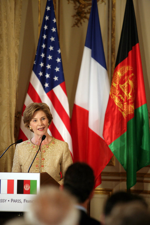 Mrs. Laura Bush delivers remarks during reception with United States - Afghan Donor's Conference Wednesday, June 11, 2008, at the Ambassadors Residence in Paris. White House photo by Shealah Craighead