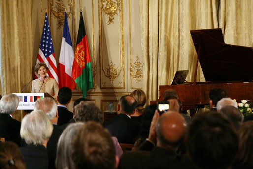 Mrs. Laura Bush delivers remarks during reception with United States - Afghan Donor's Conference Wednesday, June 11, 2008, at the Ambassador's Residence in Paris. White House photo by Shealah Craighead