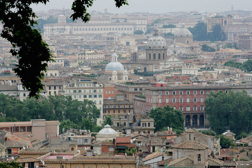Domes and rooftops of Rome are seen Thursday, June 12, 2008, during the visit of President George W. Bush and Laura Bush. White House photo by Chris Greenberg