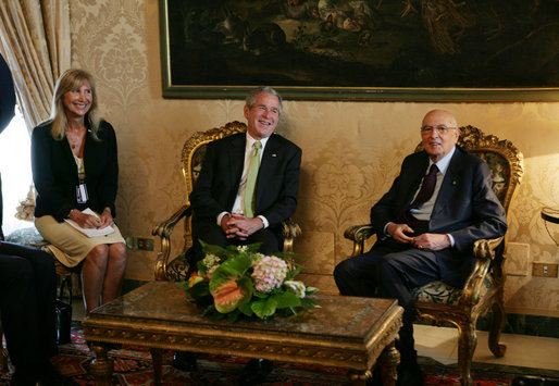 President George W. Bush meets with Italian President Giorgio Napolitano at the Quirinale Palace Thursday, June 12, 2008 in Rome. White House photo by Chris Greenberg