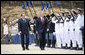 President George W. Bush is escorted by Italian Prime Minister Silvio Berlusconi during an honor guard review Thursday, June 12, 2008, at the Villa Madama in Rome. White House photo by Eric Draper