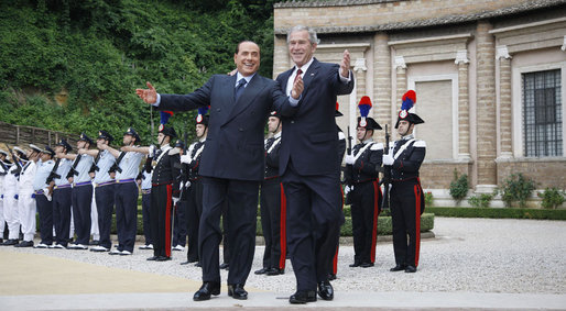 President George W. Bush is welcomed by Italian Prime Minister Silvio Berlusconi on his arrival Thursday, June 12, 2008, for meetings at the Villa Madama in Rome. White House photo by Eric Draper