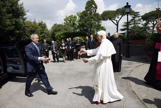President George W. Bush is welcome by Pope Benedict XVI as he arrives Friday, June 13, 2008 at the Vatican. White House photo by Eric Draper