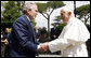 President George W. Bush shakes hands with Pope Benedict XVI as he arrives Friday, June 13, 2008, at the Vatican. White House photo by Eric Draper