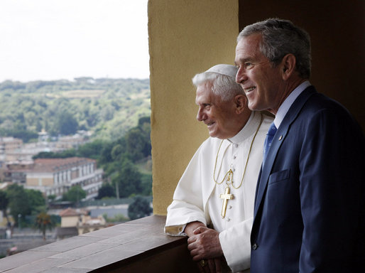 President George W. Bush is shown a view of the Lourdes Grotto by Pope Benedict XVI Friday, June 13, 2008, at the Vatican. White House photo by Eric Draper