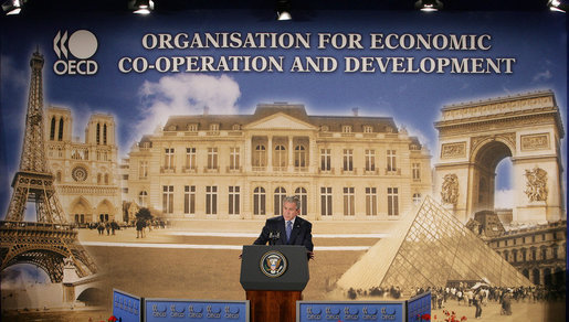 President George W. Bush addresses his remarks at the Organization for Economic Co-operation and Development Friday, June 13, 2008, in Paris, honoring the strong relationship between the United States and Europe. White House photo by Chris Greenberg