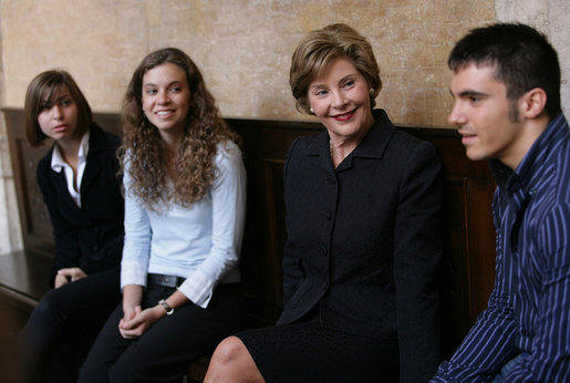 Mrs. Laura Bush meets with students at the American Study Center Friday, June 13, 2008, at the Mattei Palace in Rome. White House photo by Shealah Craighead