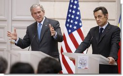 "President George W. Bush and President Nicolas Sarkozy of France, participate in a joint press availability Saturday, June 14, 2008, at the Elysée Palace in Paris. In speaking of the country, President Bush told his counterpart, ""You are not only our first friend, you've been a consistent friend, and the meetings here have reconfirmed and strengthened our friendship between our countries and our personal friendship.""  White House photo by Eric Draper"