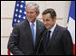 President George W. Bush and President Nicolas Sarkozy of France, shake hands following their joint press availability Saturday, June 14, 2008, in Paris. White House photo by Eric Draper