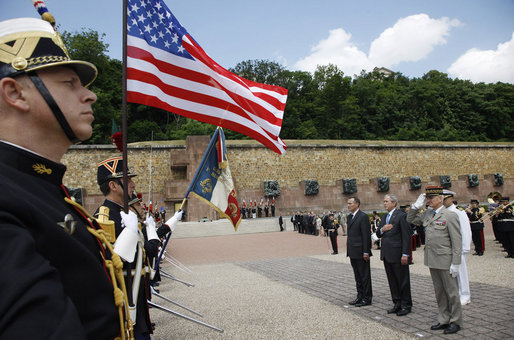President George W. Bush is seen during remembrance cermonies at the Mont Valerien memorial Saturday, June 14, 2008 in Suresnes, France, honoring members of the French Resistance executed by German soldiers during World War II. White House photo by Eric Draper