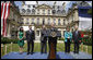 President George W. Bush thanks the members of the U.S. Mission in France and their families for their warm welcome Saturday, June 14, 2008, to the Ambassador's residence in Paris. White House photo by Eric Draper