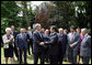 President George W. Bush and French President Nicolas Sarkozy shake hands following the unveiling of the Flamme de la Liberte sculpture Saturday, June 14, 2008, at the U.S. Ambassador's residence in Paris. White House photo by Shealah Craighead
