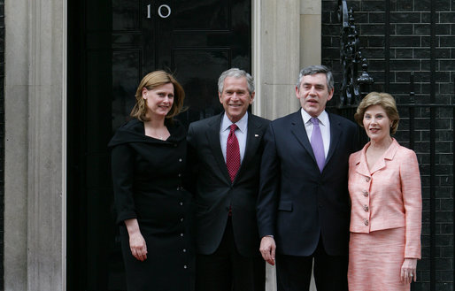 President George W. Bush and Laura Bush are met by British Prime Minster Gordon Brown and his wife, Sarah, on their arrival Sunday, June 15, 2008 to 10 Downing Street in London. White House photo by Chris Greenberg