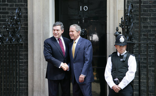 President George W. Bush arrives at 10 Downing Street Monday, June 16, 2008, in London, to meet with Prime Minister Gordon Brown of the United Kingdom. White House photo by Chris Greenberg