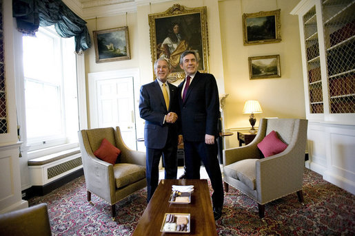 President George W. Bush and British Prime Minister Gordon Brown shake hands at a meeting Monday, June 16, 2008, at No. 10 Downing Street in London. White House photo by Eric Draper