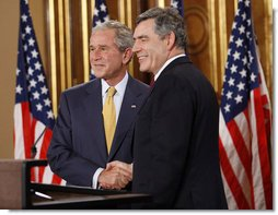 President George W. Bush and British Prime Minister Gordon Brown shake hands at their joint news conference Monday, June 16, 2008 in London. White House photo by Eric Draper
