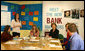Mrs. Laura Bush participates in a Northern Ireland Youthbank training activity in Belfast, Northern Ireland, Monday, June 16, 2008. The Youthbank students review a grant application and then vote on accepting or declining the application for funding. White House photo by Shealah Craighead