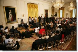 Entertainers perform in the East Room during a celebration to honor Black Music Month, Tuesday, June 17, 2008, at the White House.  White House photo by Luke Sharrett