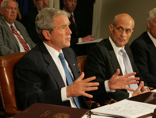 President George W. Bush talks to reporters about the government's response to the Midwest floods Tuesday morning, June 17, 2008. in the Roosevelt Room of the White House. Homeland Security Secretary Michael Chertoff, right, was one of the key leaders briefing the President. President Bush said he will travel to Iowa on Thursday to view the damage himself. White House photo by Joyce N. Boghosian