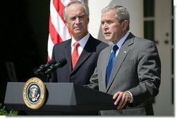 "As U.S. Interior Secretary Dirk Kempthorne looks on, President George W. Bush delivers a statement on energy Wednesday, June 18, 2008, in the Rose Garden of the White House. Calling on Congress to expand domestic oil production, the President said, ""For many Americans, there is no more pressing concern than the price of gasoline. Truckers and farmers and small business owners have been hit especially hard. Every American who drives to work, purchases food, or ships a product has felt the effect. And families across our country are looking to Washington for a response."" White House photo by Luke Sharrett"