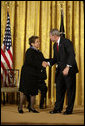 President George W. Bush shakes hands with Donna Shalala after presenting her with the Presidential Medal of Freedom Thursday, June 19, 2008, during the Presidential Medal of Freedom ceremony in the East Room at the White House. White House photo by David Bohrer