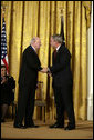 President George W. Bush shakes hands with Laurence Silberman after presenting him with the Presidential Medal of Freedom Thursday, June 19, 2008, during the Presidential Medal of Freedom ceremony in the East Room at the White House. White House photo by David Bohrer