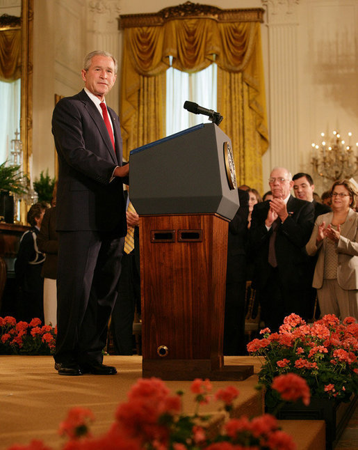 President George W. Bush delivers remarks during the presentation of the Presidential Medal of Freedom ceremony Thursday, June 19, 2008, in the East Room of the White House. White House photo by Shealah Craighead