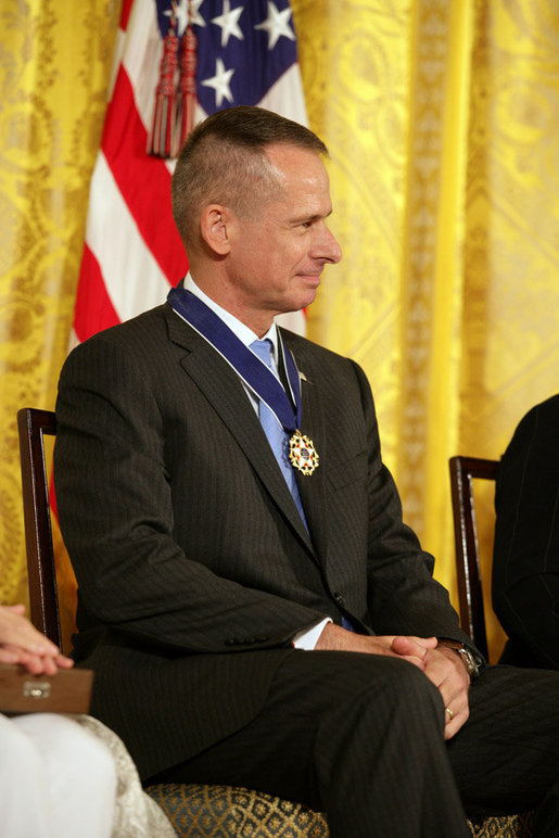 General Peter Pace receives applause after receiving the Presidential Medal of Freedom Thursday, June 19, 2008, during the Presidential Medal of Freedom ceremony in the East Room at the White House. White House photo by Shealah Craighead