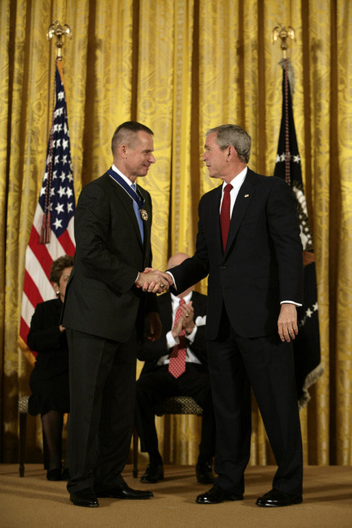 President George W. Bush shakes hands with General Peter Pace after presenting him with the Presidential Medal of Freedom Thursday, June 19, 2008, during the Presidential Medal of Freedom ceremony in the East Room at the White House. White House photo by David Bohrer
