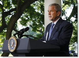 President George W. Bush addresses his remarks to reporters Friday, June 20, 2008 at the White House, thanking members of the House and Senate for their bipartisan cooperation in reaching agreement on war funding and intelligence gathering legislation. White House photo by Eric Draper