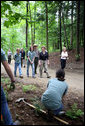 Mrs. Laura Bush walks on a trail in the Marsh-Billings-Rockefeller National Historical Park Monday, June 23, 2008, in Woodstock, Vt. With her are Rolf Diamant, park superintendent, and students of the Service-Learning program. President Bush has proclaimed June 2008 as Great Outdoors Month to celebrate the grandeur of our open spaces, strengthen our commitment to preserving this heritage, and reaffirm our dedication to protecting our air, water, and lands. White House photo by Shealah Craighead