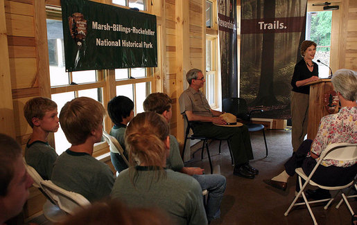 Mrs. Laura Bush delivers remarks during an Active Trails! event at Marsh-Billings-Rockefeller National Historical Park Monday, June 23, 2008, in Woodstock, Vt. Also shown are Rolf Diamant, Superintendent of Marsh-Billings-Rockefeller National Historical Park, and Vin Cipolla, President of the National Parks Foundation. Mr. Cipolla just announced a $50, 000 grant from the National Park Foundation to the Marsh-Billings-Rockefeller National Historical Park to connect the Forest Center to the Woodstock Trails Network. White House photo by Shealah Craighead