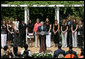 President George W. Bush delivers remarks to congratulate the 2007 WNBA Champions, the Phoenix Mercury, Monday, June 23, 2008, in the East Garden at the White House. White House photo by Chris Greenberg