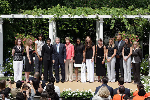 President George W. Bush poses for a photo with the 2007 WNBA Champions, the Phoenix Mercury, during their visit Monday, June 23, 2008, in the East Garden at the White House. White House photo by Chris Greenberg