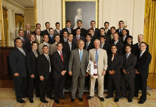 President George W. Bush poses with members of the Boston College Men's Ice Hockey Team on Tuesday, June 24, 2008 during a photo opportunity at the White House with the 2007 and 2008 NCAA Sports Champions. White House photo by Eric Draper