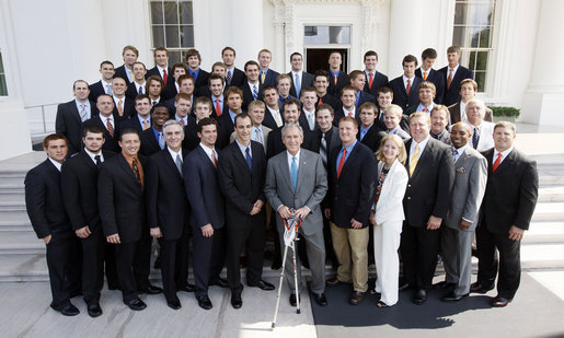 President George W. Bush stands with members of the Syracuse University Men's Lacrosse Team on Tuesday, June 24, 2008, during a photo opportunity at the White House with the 2007 and 2008 NCAA Sports Champions. White House photo by Eric Draper