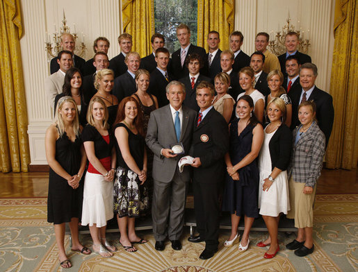 President George W. Bush stands with members of the University of Denver Men's and Women's ski teams, Tuesday, June 24, 2008, during a photo opportunity with the 2007 and 2008 NCAA Sports Champions. White House photo by Eric Draper