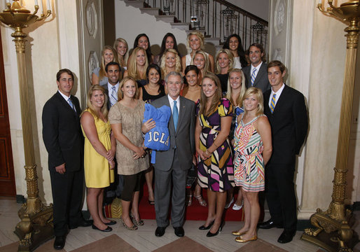 President George W. Bush stands with members of the UCLA Women's Water Polo team, Tuesday, June 24, 2008, during a photo opportunity with the 2007 and 2008 NCAA Sports Champions. White House photo by Eric Draper