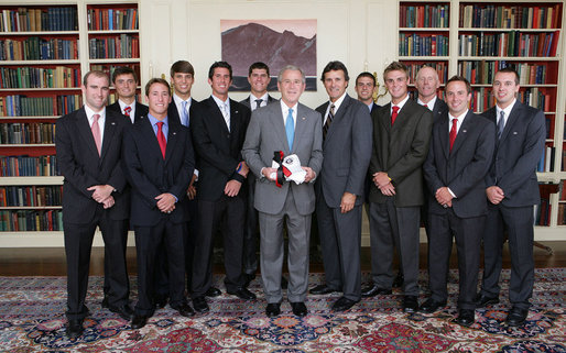President George W. Bush stands with members of the University of Georgia Men's Tennis team, Tuesday, June 24, 2008, during a photo opportunity with the 2007 and 2008 NCAA Sports Champions at the White House. White House photo by Chris Greenberg