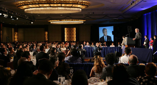 President George W. Bush addresses the 7th annual National Hispanic Prayer Breakfast Thursday, June 26, 2008, at the J.W. Marriott Hotel in Washington, D.C. White House photo by Chris Greenberg