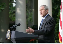 "President George W. Bush delivers a statement on North Korea Thursday, June 26, 2008, in the Rose Garden of the White House. Said the President, ""The policy of the United States is a Korean Peninsula free of all nuclear weapons. This morning, we moved a step closer to that goal, when North Korean officials submitted a declaration of their nuclear programs to the Chinese government as part of the six-party talks.""  White House photo by Chris Greenberg"