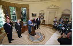 President George W. Bush delivers a brief statement Monday, June 30, 2008, at the White House after signing H.R. 2642, the Supplemental Appropriations Act, 2008. With him from left are: Deputy U.S. Secretary of State John Negroponte, U.S. Secretary of Defense Robert Gates, U.S. Secretary of Veterans' Affairs James Peake and John Walters, Director of the Office of National Drug Control Policy. The war supplemental spending package includes nearly $162 billion for the wars in Iraq and Afghanistan, increased education benefits for veterans, and an additional 13 weeks of unemployment insurance benefits. White House photo by Joyce N. Boghosian