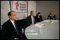 President George W. Bush participates in a roundtable discussion on Housing Counseling, Tuesday, July 1, 2008, as Secretary of Housing and Urban Development Steve Preston looks on at Family Service Agency Inc. in North Little Rock, Arkansas. White House photo by Joyce N. Boghosian