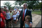President George W. Bush unexpectedly drops by Mabry Meadors 7th birthday party Tuesday, July 1, 2008 in Little Rock Arkansas. White House photo by Joyce N. Boghosian