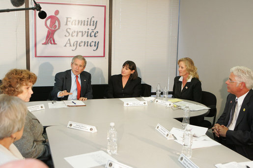President George W. Bush participates in a roundtable discussion on Housing Counseling, Tuesday, July 1, 2008, at Family Service Agency Inc. in North Little Rock, Arkansas. White House photo by Joyce N. Boghosian