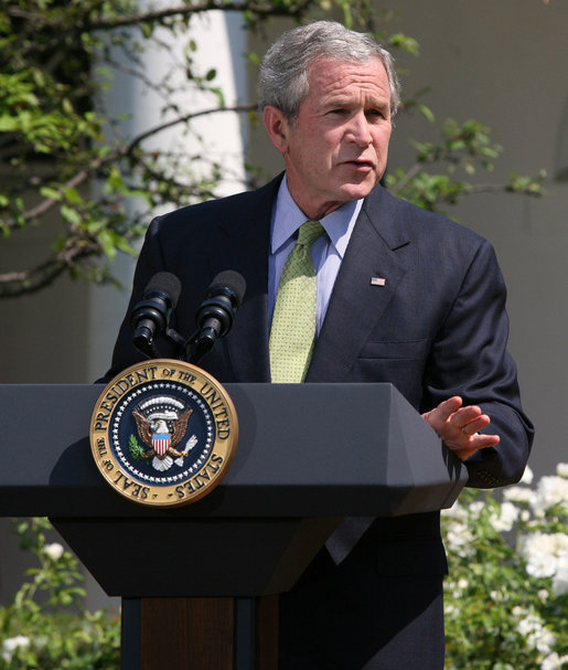 President George W. Bush addresses the media Wednesday, July 2, 2008, as he delivers a statement in the Rose Garden regarding the upcoming 2008 G8 Summit in Japan. White House photo by Joyce N. Boghosian