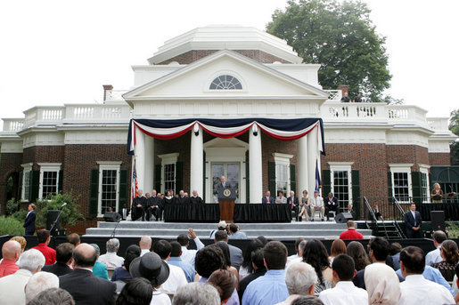 President George W. Bush delivers remark at Monticello's 46th Annual Independence Day Celebration and Naturalization Ceremony Friday, July 4. 2008, in Charlottesville, VA. White House photo by Joyce N. Boghosian