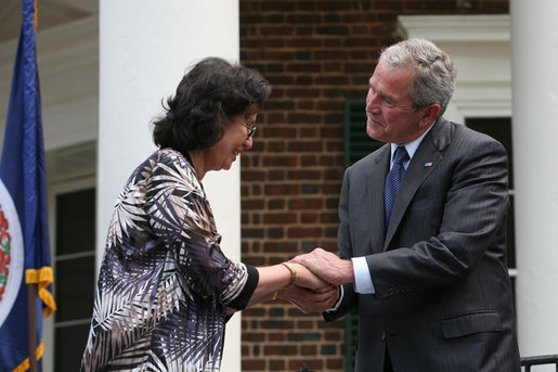 President George W. Bush shakes hands with new United States Citizens at Monticello's 46th Annual Independence Day Celebration and Naturalization Ceremony Friday, July 4. 2008, in Charlottesville, VA. White House photo by Joyce N. Boghosian