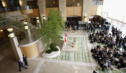 President George W. Bush and Prime Minister Yasuo Fukuda of Japan enter the Banquet Lobby at the Windsor Hotel Toya Resort and Spa Sunday, July, 6, 2008, for a joint press availability. The President and Mrs. Laura Bush arrived in Toyako on the northern Japanese Island of Hokkaido to attend the Group of Eight Summit. White House photo by Eric Draper