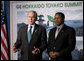 "President George W. Bush and President Jakaya Kikwete of Tanzania talk to the media Monday, July 7, 2008, after the G-8 Working Session with the Africa Outreach Representatives in Toyako, Japan. President Bush congratulated his counterpart for his leadership, saying, ""I really want the American people to hear firsthand how successful their generosity has been, whether it be on HIV/AIDS or malaria. And Tanzania is a good example. But success would not have taken place without your leadership."" White House photo by Eric Draper"